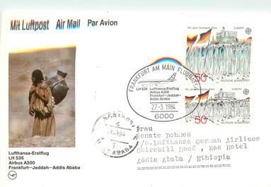 """LETTRE CARTE 1 ER VOL / ALLEMAGNE """"Francfort / Jeddah / Addis Ababa"""""""
