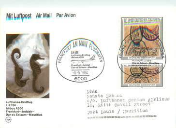"""LETTRE CARTE 1 ER VOL / ALLEMAGNE """"Francfort / Jeddah / Dar es Salaam / Maurice, 6 mai 1984"""""""