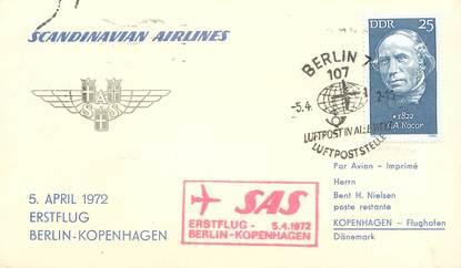 "LETTRE CARTE 1 ER VOL / ALLEMAGNE ""Berlin / Copenhague, 5 avril 1972"""