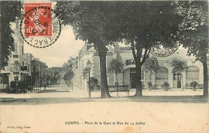 """CPA FRANCE 58 """"Cosne, Place de la gare et rue du 14 juillet"""""""