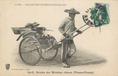"CPA FRANCE 69 ""Lyon, Exposition internationale 1914, Service des Rickshas Chinois""."
