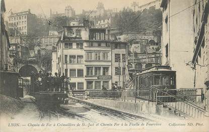 """CPA FRANCE 69 """"Lyon, Chemin de fer à crémaillère de St just et chemin de fer à ficelle de Fourvière""""."""