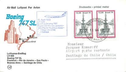 """LETTRE 1 ER VOL / AMERIQUE DU SUD """"Francfort / Rio de Janeiro / Sao Paulo / Buenos Aires / Santiago de Chile, 10 avril 1980"""""""