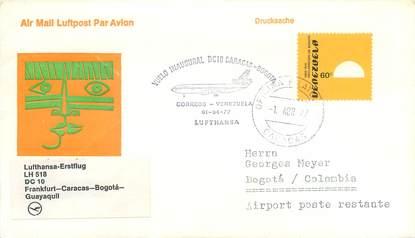 "LETTRE 1 ER VOL / AMERIQUE DU SUD ""Francfort / Caracas / Bogota / Guayaquil, 01 avril 1977"""