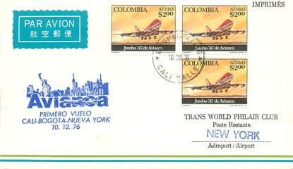 """LETTRE 1 ER VOL / AMERIQUE DU SUD """"Cali / Bogota / New York, 10 décembre 1976"""""""