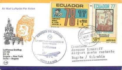 "LETTRE 1 ER VOL / AMERIQUE DU SUD ""Bogota / New York / Quito / Bogota, 3 avril 1979"""