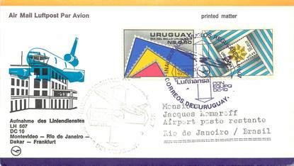 """LETTRE 1 ER VOL / AMERIQUE DU SUD """"Montevideo / Rio de Janeiro / Dakar / Francfort, 12 mai 1979"""""""
