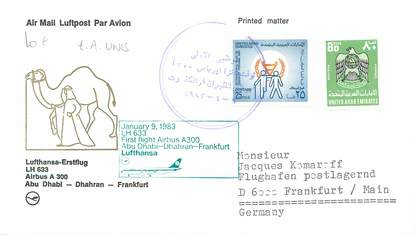 "LETTRE 1 ER VOL / ARABIE ""Emirats Arabes Unis: Abu Dhabi / Dhahran / Francfort, 9 janvier 1983"""