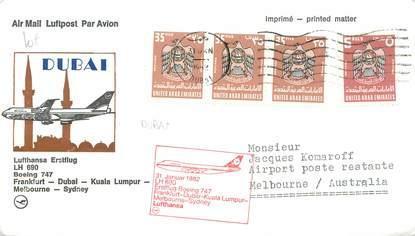 """LETTRE 1 ER VOL / ARABIE """"Francfort / Dubai / Kuala Lumpur / Melbourne / Sydney, 31 janvier 1982"""""""