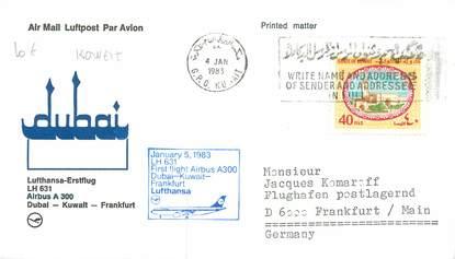 """LETTRE 1 ER VOL / ARABIE """"Dubai / Koweit / Francfort, 5 janvier 1983"""""""