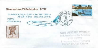 """LETTRE 1 ER VOL / USA """"Philadelphie, 5 décembre 1987"""""""