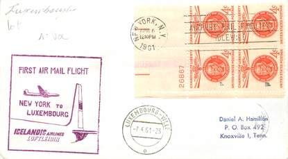 """LETTRE 1 ER VOL / USA """"New York / Luxembourg, 6 avril 1961"""""""