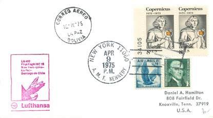 """LETTRE 1 ER VOL / USA """"New York / Lima / La Paz / Santiago de Chile, 9 avril 1975"""""""