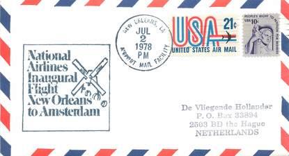 """LETTRE 1 ER VOL / USA """"Nlle Orléans / Amsterdam, 2 juillet 1978"""""""