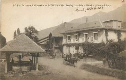 """CPA FRANCE 73 """"Bonvillard, Hôtel et place publique""""."""
