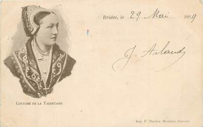 """CPA FRANCE 73 """"Brides les Bains, Costume de la Tarentaise""""./ FOLKLORE"""