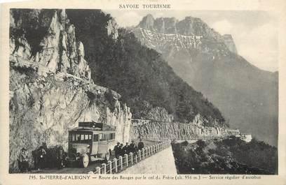 """CPA FRANCE 73 """"St Pierre d'Albigny, Route des bauges par le Col du Frêne"""". / AUTOBUS"""