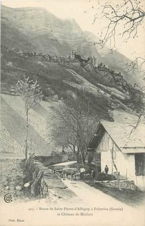 """CPA FRANCE 73 """"Route de St Pierre d'Albigny à Frêterive, Château de Miolans""""."""