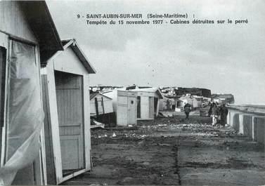 """CPSM FRANCE 76 """"Saint Aubin sur Mer, Tempête de 1977, cabines détruites sur le Perré."""