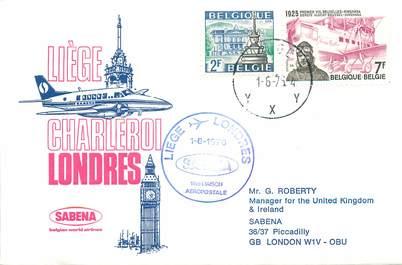 """LETTRE 1 ER VOL / BELGIQUE """"Liège / Londres, 1er juin 1976"""""""