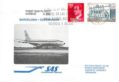 """LETTRE 1 ER VOL / ESPAGNE """"Barcelone / Copenhague, 30 septembre 1980"""""""