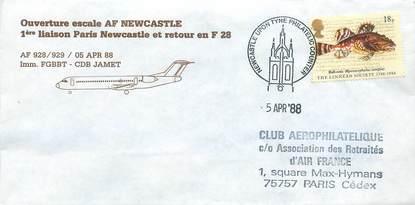"LETTRE 1 ER VOL / GRANDE BRETAGNE ""Paris / Newcastle, 5 avril 1988"""
