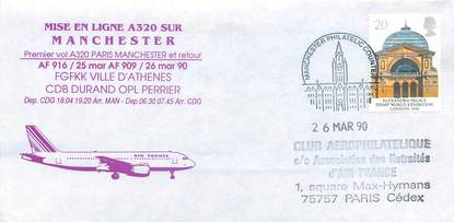 "LETTRE 1 ER VOL / GRANDE BRETAGNE ""Paris / Manchester, 26 mars 1990"""