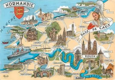 """CPSM FRANCE 76 """"Carte géographique""""."""