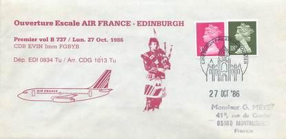 """LETTRE 1 ER VOL / GRANDE BRETAGNE """"Edinburgh, 27 octobre 1986"""""""