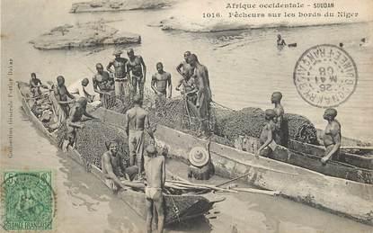 """CPA SOUDAN """"Soudan, pêcheurs sur les bords du Niger"""" / FORTIER"""