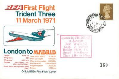 """LETTRE 1 ER VOL / GRANDE BRETAGNE """"Londres / Madrid, 11 mars 1971"""""""
