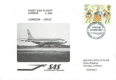 "LETTRE 1 ER VOL / GRANDE BRETAGNE ""Londres / Oslo, 29 mars 1981"""