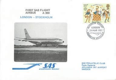 """LETTRE 1 ER VOL / GRANDE BRETAGNE """"Londres / Stockholm, 29 mars 1981"""""""