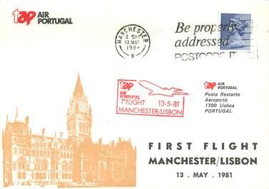 """LETTRE 1 ER VOL / GRANDE BRETAGNE """"Manchester / Lisbonne, 13 mai 1981"""""""