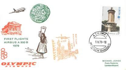 """LETTRE 1 ER VOL / GRECE """"Athènes / Londres, 1er avril 1979"""""""