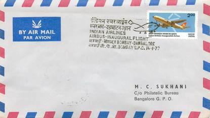 """LETTRE 1 ER VOL / INDES """"Bombay / Bangalore, 14 janvier 1977"""""""