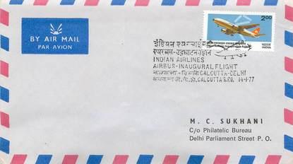 """LETTRE 1 ER VOL / INDES """"Calcutta / Delhi, 14 janvier 1977"""""""