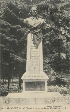 "CPA FRANCE 39 ""Salins les Bains, Statue de Victor Considérant""."