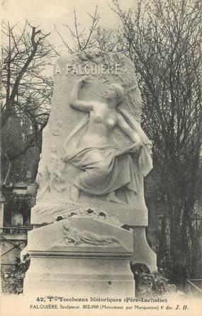 """CPA FRANCE 75 """" Paris 20ème, Cimetière du Père Lachaise, Monument de A. Falguière""""."""