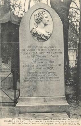 """CPA FRANCE 75 """" Paris 20ème, Cimetière du Père Lachaise, Monument de Mme Clairon""""."""