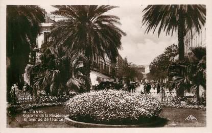 """CPSM TUNISIE """"Tunis, Square de la Résidence et avenue de France"""""""