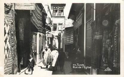 """CPSM TUNISIE """"Tunis,  rue de l'Eglise"""""""