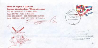 "LETTRE 1 ER VOL / PAYS BAS ""Amsterdam / Nice, 26 mars 1989"""