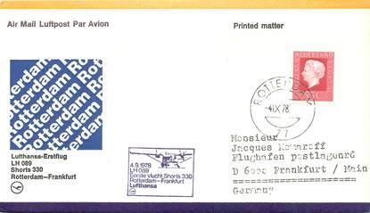 """LETTRE 1 ER VOL / PAYS BAS """"Rotterdam / Francfort, 4 septembre 1978"""""""