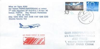 """LETTRE 1 ER VOL / PAYS BAS """"Paris / Amsterdam, 19 avril 1988"""""""