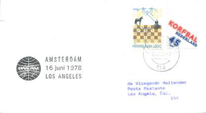 "LETTRE 1 ER VOL / PAYS BAS ""Amsterdam / Los Angeles, 16 juin 1978"""