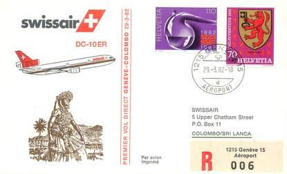 """LETTRE 1 ER VOL / SUISSE """"Genève / Colombo, 29 mars 1982"""""""