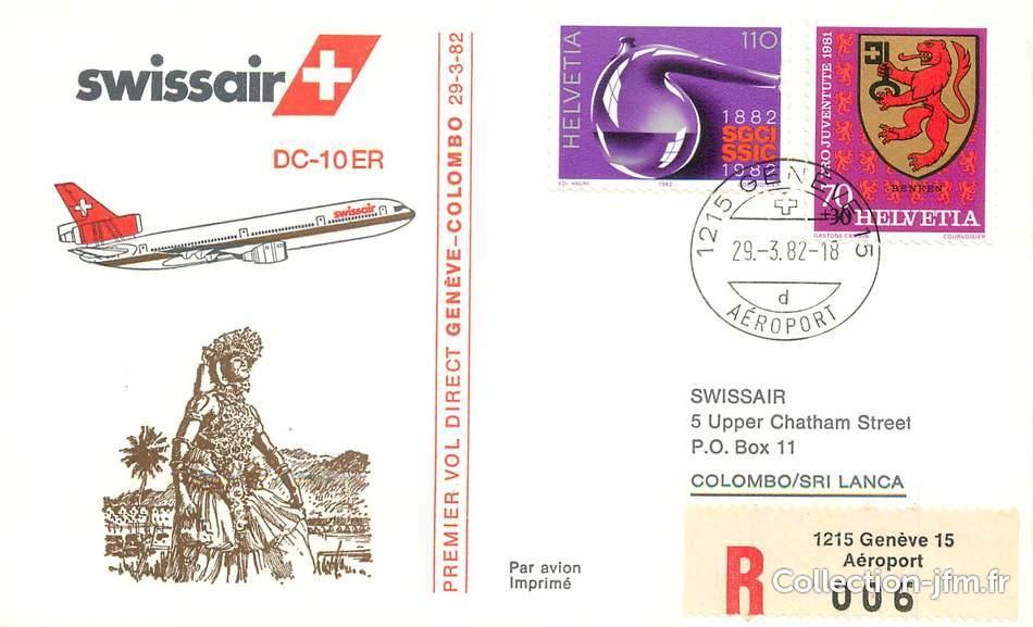 lettre 1 er vol suisse gen ve colombo 29 mars 1982 1 er vol suisse ref 142851. Black Bedroom Furniture Sets. Home Design Ideas
