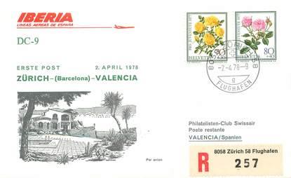 """LETTRE 1 ER VOL / SUISSE """"Zürich / Valencia, 2 avril 1978"""""""