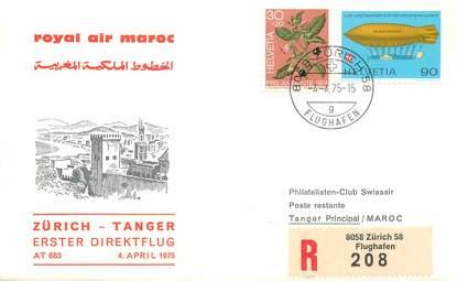 """LETTRE 1 ER VOL / SUISSE """"Zürich / Tanger, 4 avril 1975"""""""